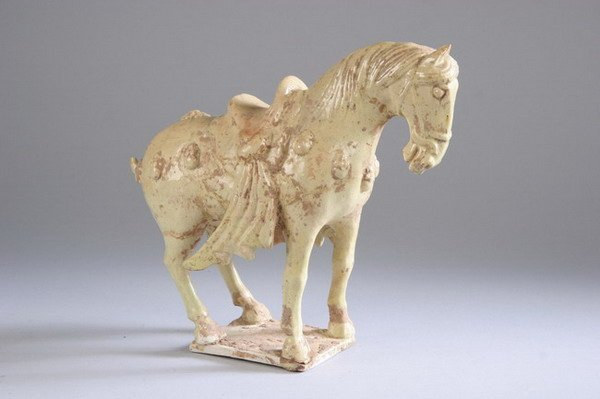 10: CHINESE STRAW GLAZED POTTERY HORSE , Tang Dynasty.