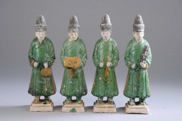 22: FOUR CHINESE SANCAI POTTERY FIGURES OF MUSICIANS, M