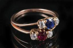1046 VICTORIAN 14K ROSE GOLD DIAMOND AND COLORED GEMS