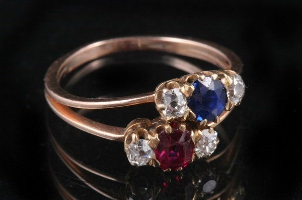1046: VICTORIAN 14K ROSE GOLD, DIAMOND AND COLORED GEMS