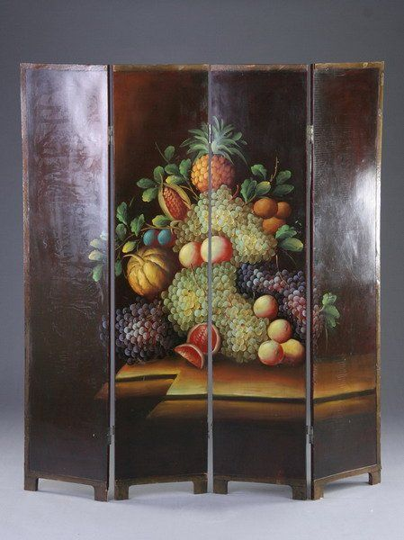 1194: CONTINENTAL FOUR-PANEL PAINTED SCREEN, 20th centu