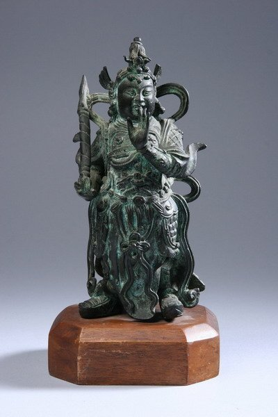 3: CHINESE BRONZE FIGURE OF A WARRIOR. - 11 in. high.