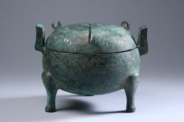5: CHINESE ARCHAISTIC SILVER INLAID BRONZE VESSEL. - 6