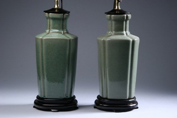 8: PAIR CHINESE CELADON PORCELAIN VASES. - 12 in. high.