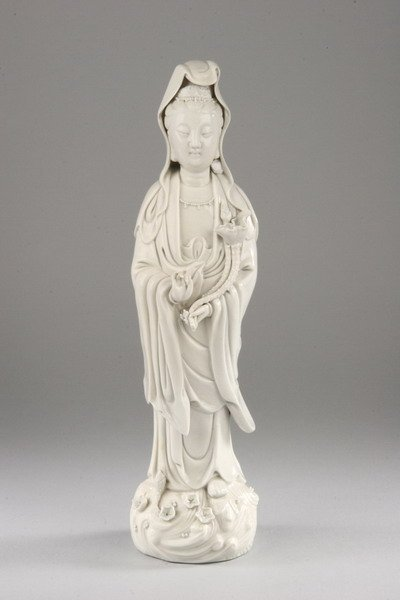 20A: CHINESE BLANC-DE-CHINE PORCELAIN FIGURE OF GUANYIN