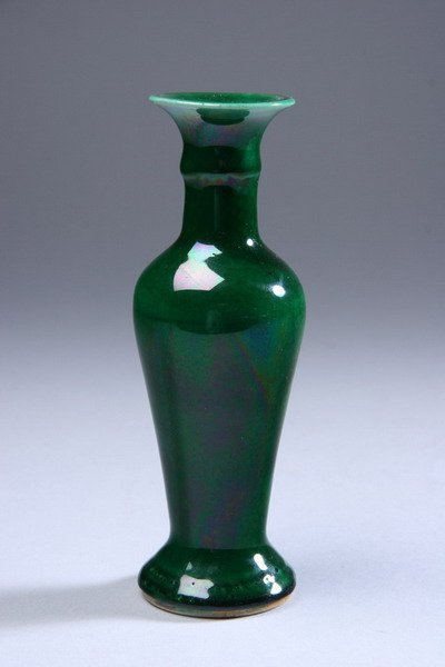 22: CHINESE MONOCHROME GREEN PORCELAIN VASE, Qing Dynas