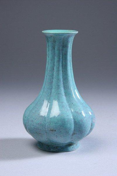 25: CHINESE ROBIN'S EGG PORCELAIN VASE, Qing Dynasty. -