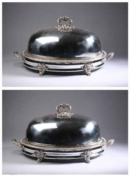 607: PAIR GRAND EDWARDIAN SHEFFILED PLATE OVAL COVERED