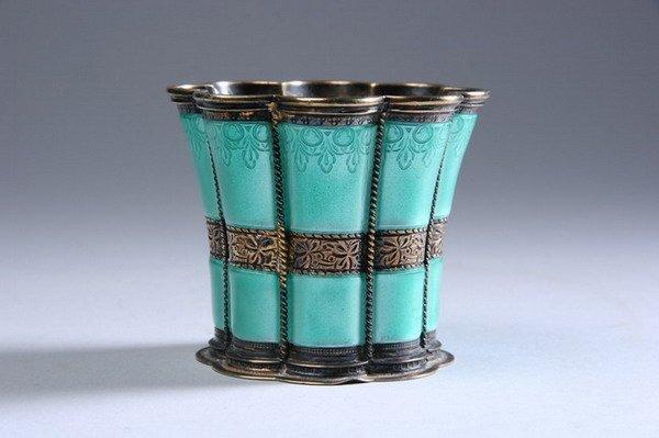 617: DANISH ENAMELLED SILVER-GILT CUP. 20th century, A