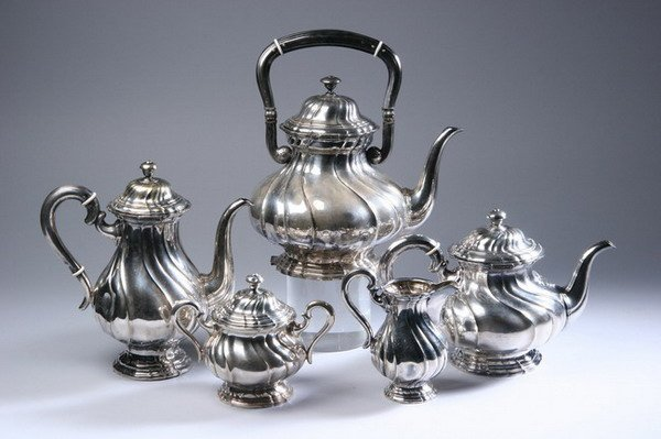 623: FIVE-PIECE CONTINENTAL SILVER PLATED COFFEE SERVIC