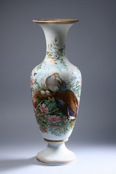 684: FRENCH ENAMELLED OPALINE GLASS VASE. late 19th cen