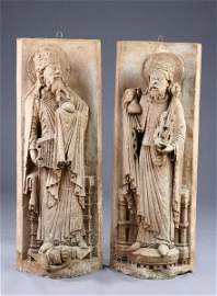 694: PAIR FRENCH PLASTER-CAST CATHEDRAL FIGURES OF SAIN