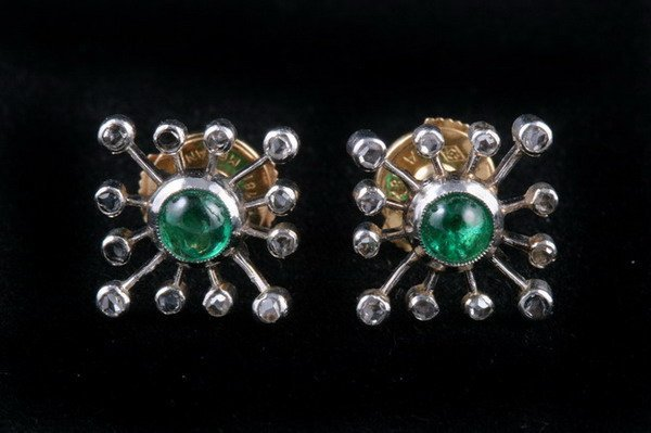 1141: PAIR FRENCH PLATINUM, DIAMOND AND EMERALD SQUARE