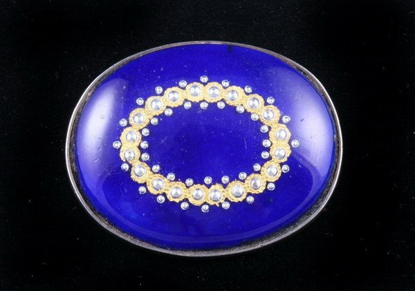 1154: GEORGIAN SILVER, COBALT ENAMEL AND SEED PEARL OVA
