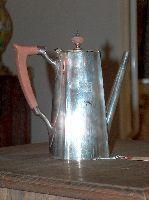 A GORHAM SILVER COFFEE POT. With 'ES' monogram, 1 1
