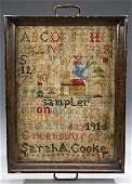 1008: AN AMERICAN WOOL AND LINEN ALPHABET SAMPLER. work