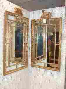 1100: A PAIR OF CARVED GILTWOOD PIER MIRRORS, late 19th