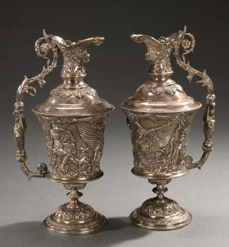 3: A PAIR OF SHEFFIELD-PLATED EWERS,   20th c