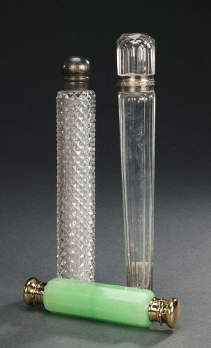 4: THREE GLASS SCENT BOTTLES,   Late 19th cen