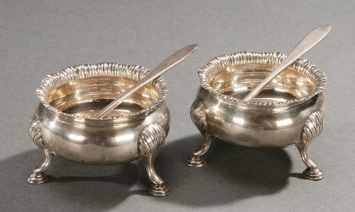 5: A PAIR OF ENGLISH SILVER SALTS,   1917, Lo
