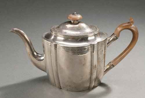 8: A GEORGE III SILVER TEAPOT AND COVER,   17