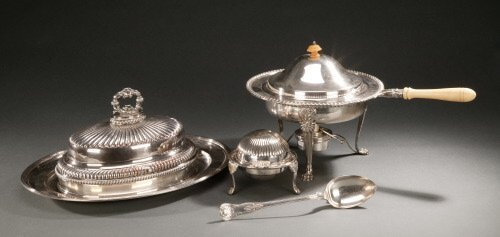 12: FIVE ENGLISH SILVER-PLATED TABLEWARES,
