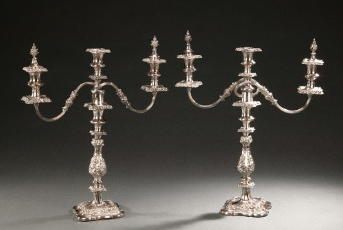 13: A PAIR OF ENGLISH SILVER PLATED THREE-LIG