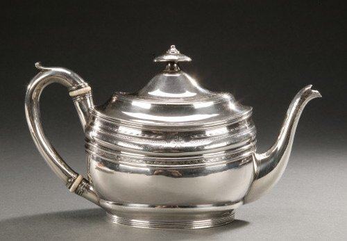 14: A GEORGE III SILVER OVAL TEAPOT AND COVER