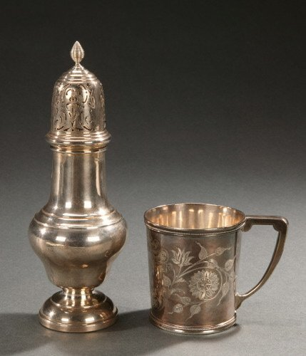 15: AN ENGLISH SILVER CASTER AND AN AMERICAN
