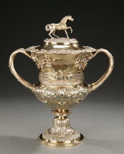 18: A WILLIAM IV SILVER-GILT TWO-HANDLED TROP