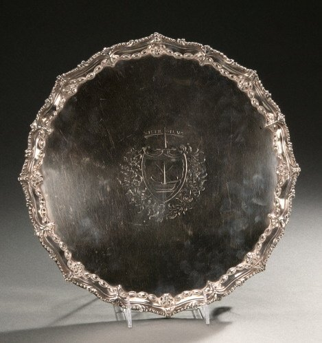 21: A GEORGE III SILVER FOOTED TRAY,   1773,