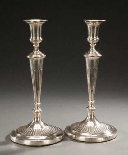 22: A PAIR OF GEORGE IV SILVER CANDLESTICKS,