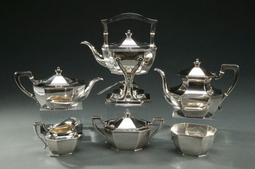 23: A SIX-PIECE AMERICAN SILVER TEA AND COFFE