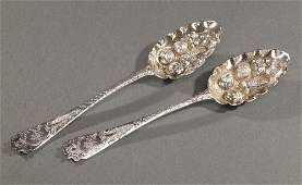 27: A PAIR OF GEORGE IV SILVER SERVING SPOONS