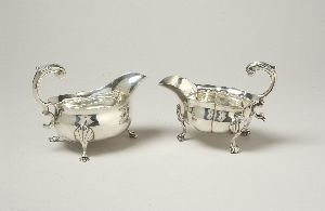 3: TWO GEORGE II SILVER SAUCE BOATS.  One, possibly Tho