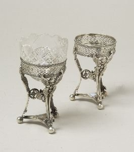 8: A PAIR OF VICTORIAN SILVER CONDIMENT BOWLS. By M.B.,
