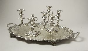 9: A VICTORIAN SILVERPLATED OVAL TWO-HANDLED SERVING TR
