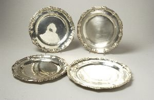 11: A VICTORIAN SILVER SERVICE PLATE AND DESSERT PLATE