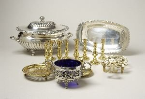 15: A LARGE COLLECTION OF SILVER PLATE AND BRASS.  Incl