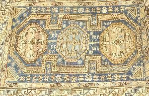 906: A CAUCASIAN RUG,  3ft. 9in. x 5ft. 1in.