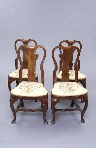 1351: FOUR GEORGE I MIXED WOOD SIDE CHAIRS, 18th Centur