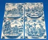 FOUR DELFT BLUE AND WHITE TILES, 18th century. With