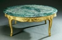 116: A LOUIS XV STYLE ITALIAN MARBLE-TOP COFFEE TABLE,
