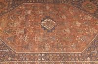 709: A PERSIAN ANTIQUE SHIRAZ RUG,  7ft. 3in. x 9ft. 7i