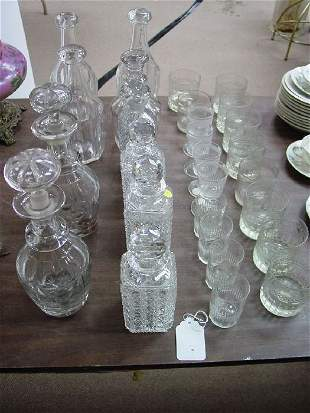 A Collection of Ten Glass Decanters, inclu