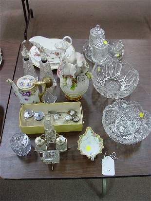 An Assortment of Crystal and Porcelain Ta