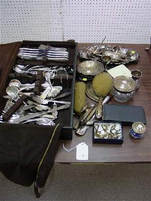 A Ten-Piece English Silver Backed Vanity