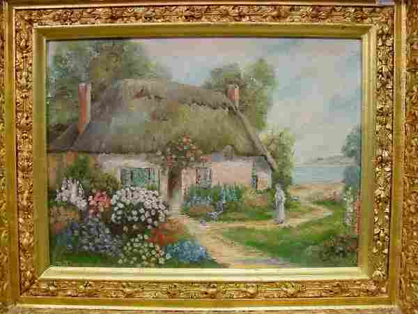Cottage With Flowers, signed, N.T., Europ