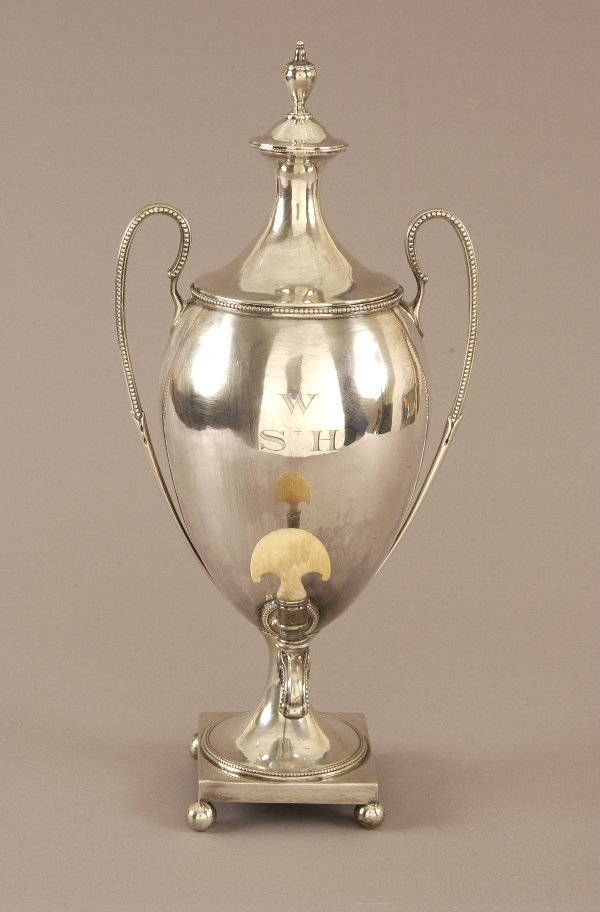 1: A GEORGE III SILVER HOT WATER URN. by John Denzilow,