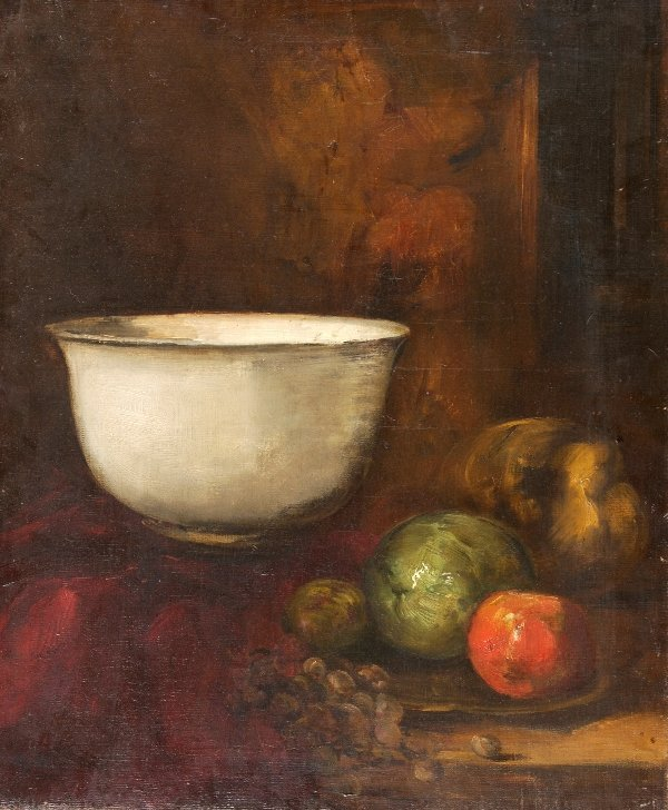 391: FRENCH SCHOOL (20th century). WHITE BOWL WITH HARV